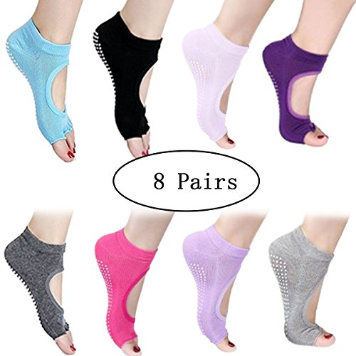 URBEST® Sports Fitness Non Slip Cotton Women Yoga Socks Separated Half 5 Toes Backless Dance Pilates Ankle Grip Socks (8 pairs C)