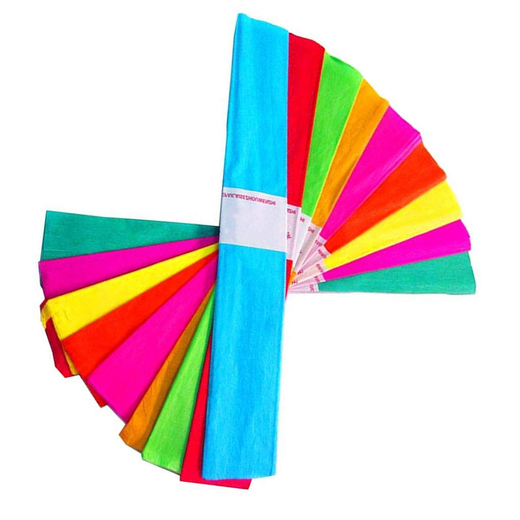 Bodbii 10pcs Craft Crepe Paper Roll Sheets Wrapping Florist Streamers Party Birthday Hanging Decoration