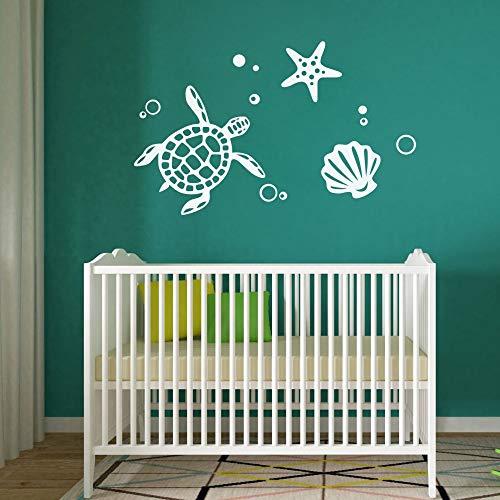 FlyWallD Ocean Sea Turtle Vinyl Art Shell Starfish Bubble Decal Home Decor Tortoise Wall Stickers ()