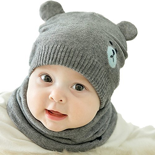 Urberry Knit Beanie Cap for Baby, Autumn Warm Kids Girl Boy Ear Hat+Scarf for Babies 0-12Month (Grey)