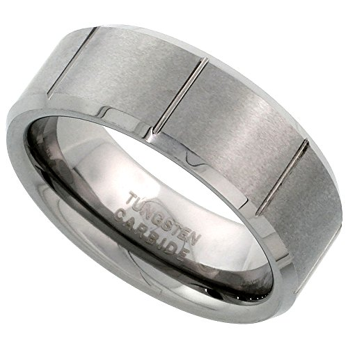 Tungsten Carbide 8 mm Flat Wedding Band Ring Satin Finished Vertical Grooves Beveled Edges, Size 14