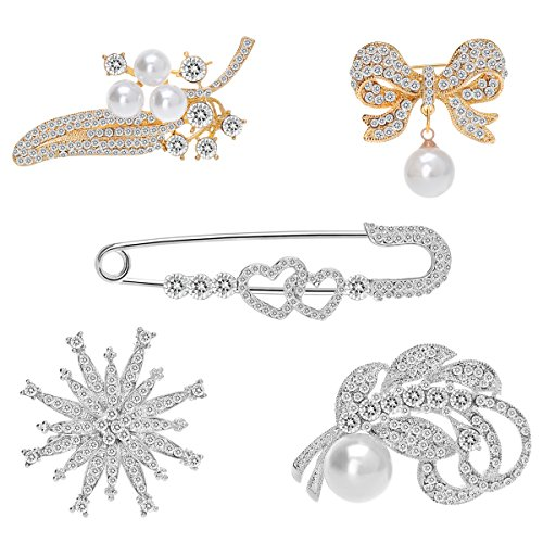 Brass Crystal Brooch - IPINK Wedding Bridal Clear Crystal Pearl Brooches Pins Pack of 5 (001)