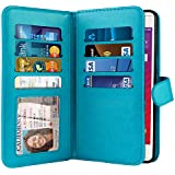 NEXTKIN LG Tribute HD LS676 Case, Leather Dual Wallet Folio TPU Cover, 2 Large Pockets Double flap, 8 Card Slots Snap Button Strap For LG Tribute HD LS676 X Style 5 inch X Skin L56VL L53BL - New Teal