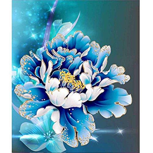 Smartcoco 5D DIY Diamond Painting Blue Peony Wall Sticker 3D Diamond Mosaic Cross Stitch Embroidery 26X30CM