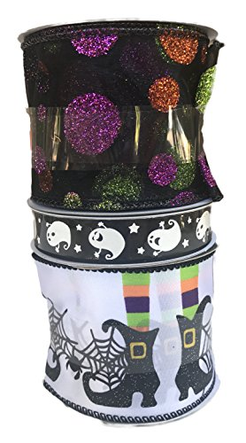 Glitter Polka Dot Mesh Ghosts and Witches Legs Bundle of Three Halloween Themed -