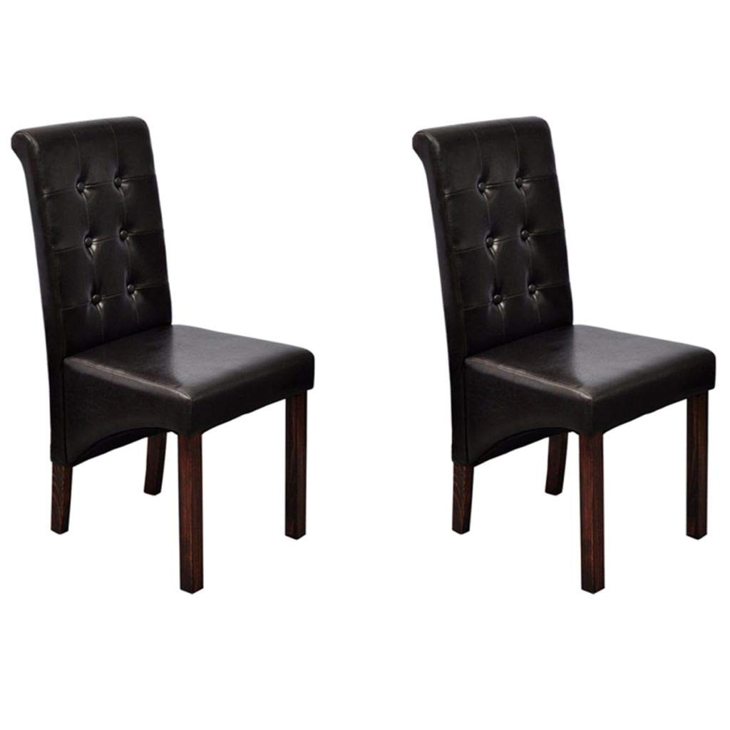 Festnight set of 2 contemporary leaher dining chairs upholstery high back armless side chair with wooden frame legs home kitchen dining living room