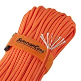 Titan SurvivorCord | Safety-Orange | 103 Feet | Patented Military Type III 550 Paracord/Parachute Cord (3/16'' Diameter) with Integrated Fishing Line, Fire-Starter, and Utility Wire.