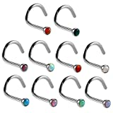 Xpircn Nose Studs, 20G 7mm Stainless Steel Opal Nose Ring Screw Body Piercing for Men Women 10 Pack