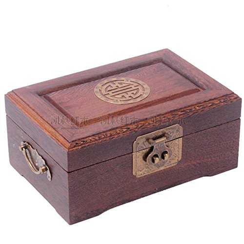 Rosewood casket Creative double mahogany Dresser solid wood antique jewelry box treasure box with brass lock ()