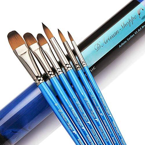 Paint Brushes Watercolor Acrylic Oil - Art Brush Set. Short Handle Painting Kit Best for Professional Artist. Filbert Round