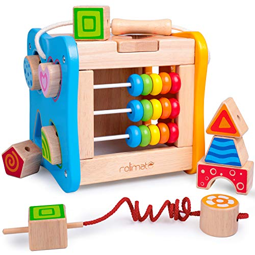 rolimate Wooden Activity Cube Best Gifts for 1 2 3 4 Year Old Boy Girl Shape Sorter Activity Center for Baby Kid Toddler Preschool Learning Toys Educational Toys Travel Toys