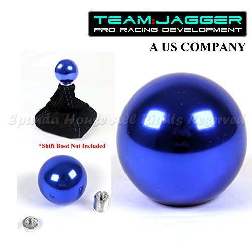 Team Jagger USA Round Anodized Blue Billet Aluminum Manual Gear Stick Shift Knob M8x1.25 Threaded