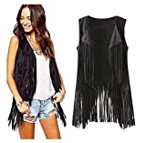 Appoi Women coat&Blouse&Sweatshirt Womens Open Front Cardigan Plain Sleeveless Asymmetric Draped Hem Vest Coverup (S, Black)