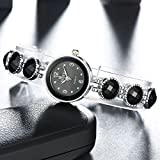 New Women Stainless Steel Black Oval Band Analog Quartz Wrist Watch Accessories