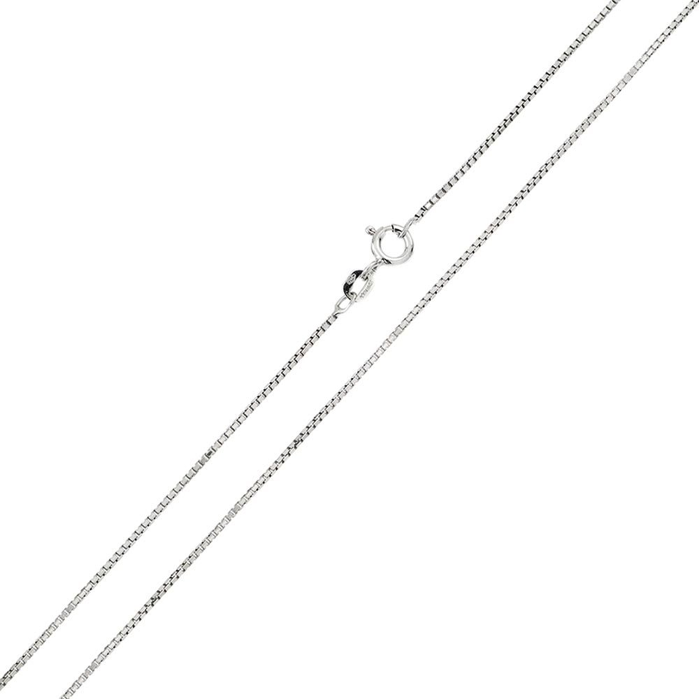 CloseoutWarehouse Rhodium Plated Sterling Silver Shinny Greek Link Box 015 Chains 0.8mm