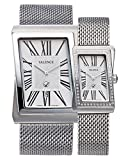 VALENCE VC-003A Couple His and Hers Silver Roman Numeral Mesh Stainless Steel Fashion Luxury Wrist Watch