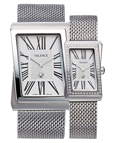 VALENCE VC-003A Couple His and Hers Silver Roman Numeral Mesh Stainless Steel Fashion Luxury Wrist Watch by Julius