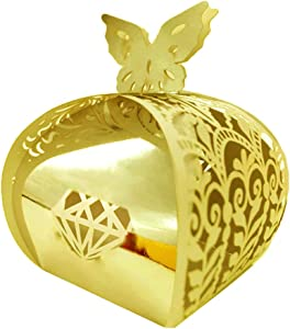 WOMHOPE Candy Boxes Party Favors Wedding Chocolate Gift Bag Treat Hollow Laser Cut European Butterfly Lock for Wedding, Baby Shower,Birthday,50 Pcs (Gold (Reflect Light))