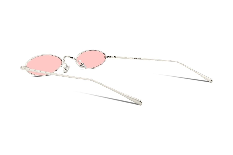 FEISEDY Occhiali da sole ovali snelli vintage montatura in metallo con lenti color caramello B2277