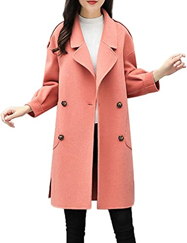 Womens Pink Slim Fit Lapel Trench Coats Outerwear Wool Blend Fahion Overcoats