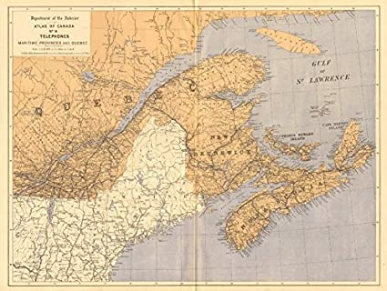 Canada Telephone Cables Maritime Provinces And Quebec White - Old map of canada