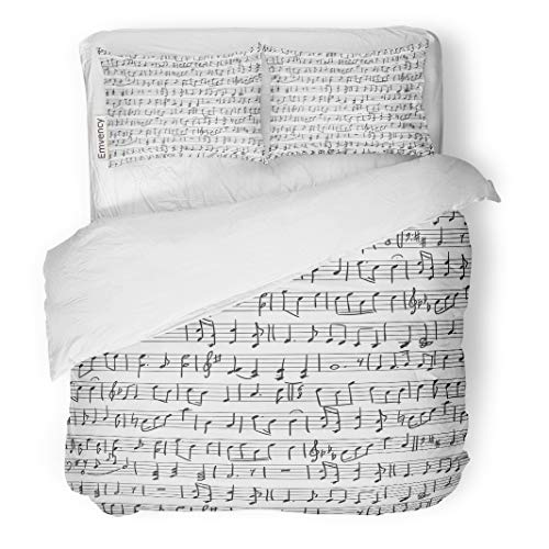 Semtomn Decor Duvet Cover Set King Size Music Musical Notes Pattern Sheet Orchestra Sketch Symphony Black 3 Piece Brushed Microfiber Fabric Print Bedding Set Cover