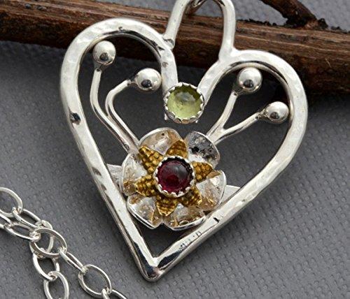 Sterling silver open heart necklace two tone flower pendant peridot garnet jewelry -