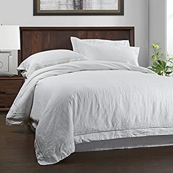 Simple&Opulence 100% Linen Duvet Cover Set 3 Piece Solid Wash(White, Queen)