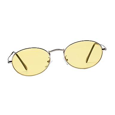 dc43952d802b0 Sharplace Lunettes de Soleil Rétro Vintage Yeux Protection Verre UV Frame  Unisexe - Jaune