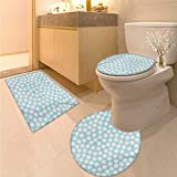 Anhuthree Kids Toilet mat Set Doodle Style Spots on a Pale Blue Background Artistic Boys Kids Baby Pattern Toilet Carpet Floor mat Pale Blue and White