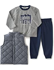 Calvin Klein Baby Boys' Vest with Zip-Front, Tee and Pants Set