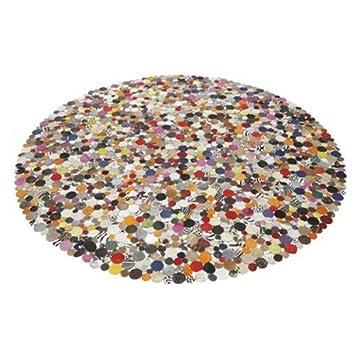 Teppich bunt rund  Teppich Circle Multi Rund 250 cm Bunt echtes Kuhfell ...