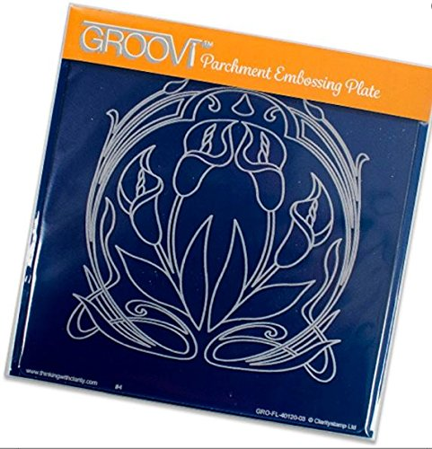 Nouveau Lily - Groovi Parchment Embossing Plate - Lilies Art Nouveau A5 - Laser Etched Acrylic for Parchment Craft