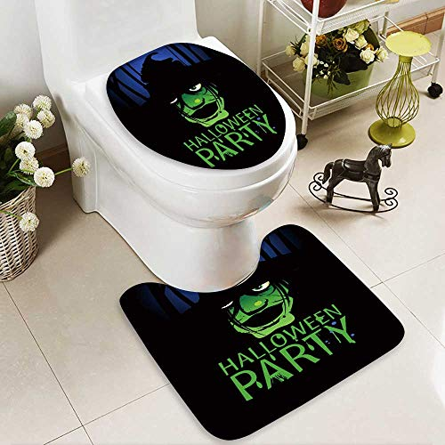 aolankaili Toilet Carpet Floor mat Halloween Party Design Template with Witch and Place for Text. 2 Piece Shower Mat -