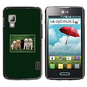 Vortex Accessory Hard Protective Case Skin Cover For Lg Optimus L5 Ii Dual ( E455 / E460 ) - Green Retriever Labrador Puppies Black