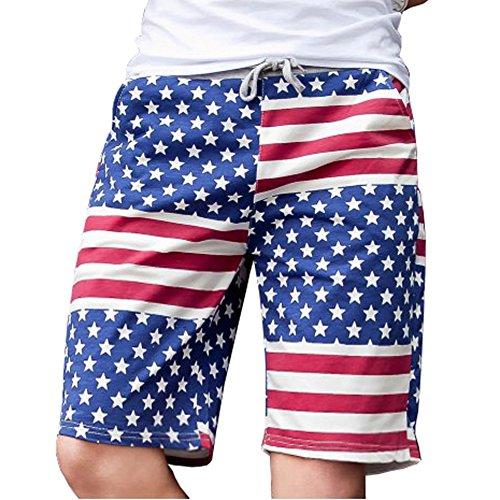 Men's American Usa Flag Soul Star Striped Trunk Beach Swimming Board Short Pant L