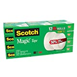 3M Scotch Magic Original Matte Invisible Tape (3/4'' X 1500'') Jumbo Rolls - 12 ct.