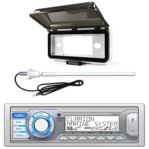(ClarionMarine Audio Single DIN Digital Media Stereo Receiver, Radio Protective Cover, AM/FM Rubber Mast Antenna)