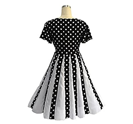 5b727672f3a Judy Dre am Black and White 50s Retro Monroe Polka Dot Plus Size Evening  Dresses Round Neck Swing Party Dress Gown at Amazon Women s Clothing store