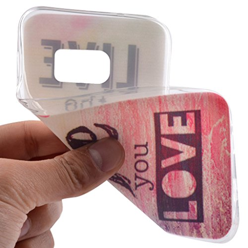 PowerQ M colorida de la caja TPU de la serie del patrón Caso Case < Red Sea -REGRET - para Samsung Galaxy S7 >                                          impresión del modelo de impresión Dibujo caja del teléfono celular móvil de la cubierta s Live Life Love