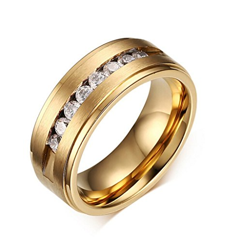 KnSam Men Stainless Steel Eternity Ring 8MM Crystal Channel Set All-Around Ring Gold Size 7 ()