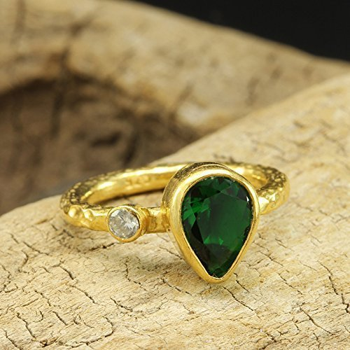 Pear Shape Emerald Color Green Cubic Zirconia Ring 925 Sterling Silver 24K Yellow Gold Vermeil Handcrafted Hammered Handmade Artisan Right Hand Ring Cubic Zirconia Vermeil Ring