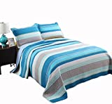 Alicemall Blue Stripes Quilt Set 100% Cotton Soft and Breathable Blue White Gray Striped Quilt Bedspreads Set, Queen Size (Blue, Queen)