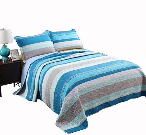 Alicemall Blue Stripes Quilt Set 100% Cotton Soft and Breathable Blue White Gray Striped Quilt Bedspreads Set, Queen Size (Blue, Queen) (The Mall Queens)