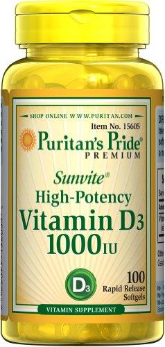 Fierté Sunvite forte puissance Vitamine D3 1000 UI de Puritan 100 des gélules Rapid Release