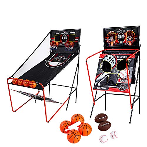 (Lancaster 2 Player Electronic Scoreboard Arcade 3 in 1 Basketball Sports Game)