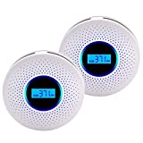 Smoke & Carbon Monoxide Gas Detection 2 in 1,CO Detector Alarm LCD Portable