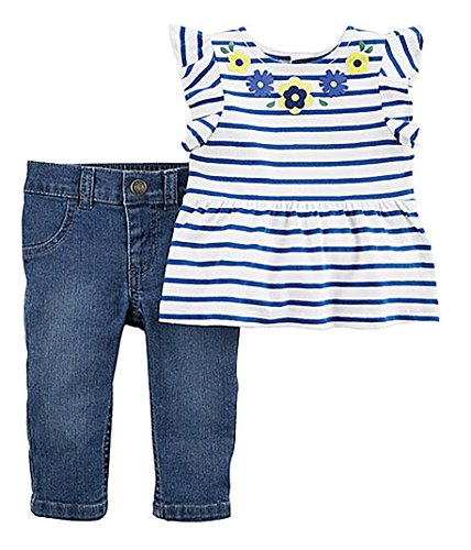 Carter's Girl's Flutter Sleeve Striped Peplum Top with Floral Applique & Jeans (9M)