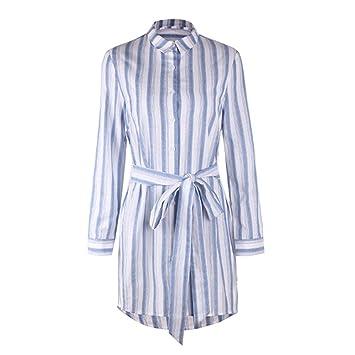 Vestido de Mujer, Rayas de Manga Larga con Solapa/Cuello de Polo ...