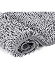 Ultra Soft Texture Chenille Plush Bath Rugs Floor Mats, Hand Tufted Bath Rug Non Slip Microfiber Door Mat for Kitchen/Entryway/Living Room, 32 by 20 inches, Grey